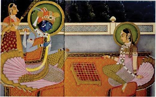 The Mahradja Sharim playing chess with a stranger, who transpired to be Lord Krishna (National Museum, New Delhi, India).