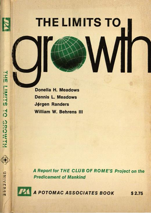 Book cover Limits to growth by Donella Meadows, Dennis Meadows, Jørgen Randers and Wilhelm Behrens.