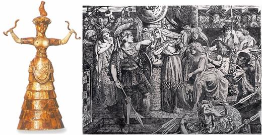 (left) The snake goddess of Crete, possibly an ancestor Goddess to Athena. Statue from Knossos Museum, Crete, Greece. (right) Picture by Gabriel Dante Rosetti, Cassandra's prophecy of impending disaster is spoken but not heeded.
