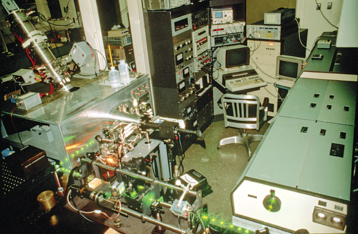 Resonance ionsation mass spectrometer, circa 1986, used for initial Re and Os measurements by the author at the U.S. National Bureau of Standards (now NIST). Note the trace of the pulsing laser light.