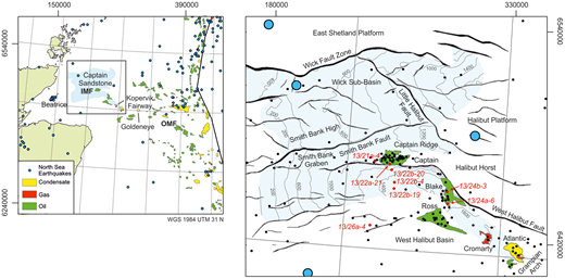 Location of the study area, main geological features relevant to this study (IMF and OMF, Inner and Outer Moray Firth, respectively), wells (small dots, wells used in the study are labelled) and the British Geological Survey (BGS) seismicity catalogue up to 2012 (filled circles). Fault locations shown for the base Cretaceous and top Captain Sandstone depth contours (metres relative to the seabed) were derived from SCCS (2011). Note the Kopervik Fairway is known to extend further eastwards than shown (Law et al. 2000; Marshall et al. 2016). Offshore quadrant and field linework contain public sector information licenced under the Open Government Licence v3.0.