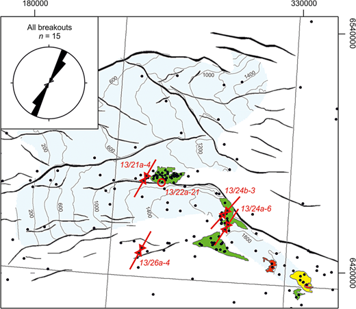 SHmax orientations calculated from the observation of borehole breakouts in the study wells across the study region. No stress orientation could be determined for well 13/22a-21.