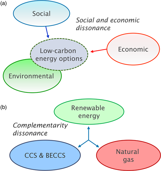 Illustration of the main dissonance factors hindering adoption of low-carbon energy solutions: (a) the lack of social and economic support for low-carbon energy options; and (b) the lack of appreciation that simultaneous and complementary solutions are needed (and not just the most attractive option).