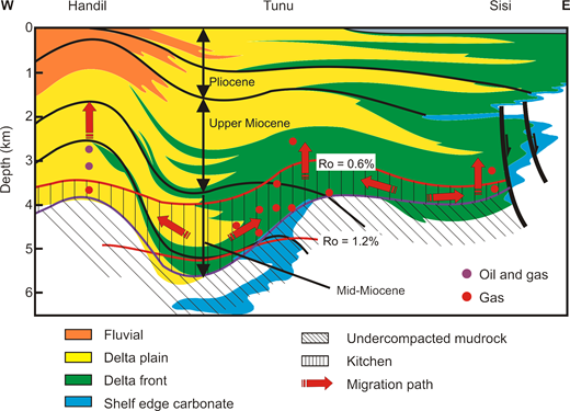Schematic cross-section of the Neogene petroleum system (simplified from Duval et al. 1998). The giant Bekapai oil and gas field lies approximately 10 km south of the supergiant Tunu gas field.