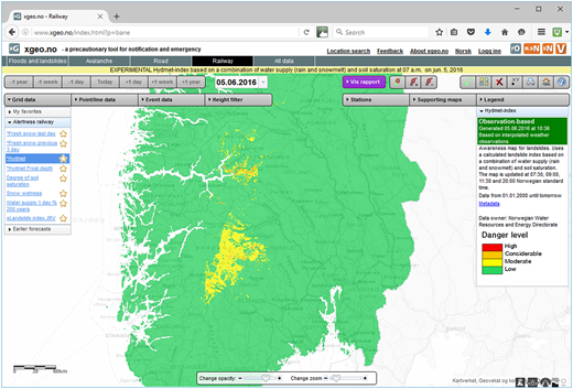 Norwegian XGEO system, showing colour coded landslide hazard determined from rain and snowmelt, and soil saturation data. The hazard map is updated four times a day.