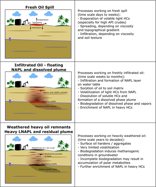 A conceptual model of heavy hydrocarbon fate and transport in the environment. Heavy hydrocarbons are typically released together with lighter hydrocarbon fractions that are found in most crude oils. This modifies the physical and chemical properties that significantly affect the transport on soils and in the subsurface. Releases of viscous refined bitumen or extremely heavy crude oils (APIo < 12) are unlikely to travel any significant distance in the soil or subsurface.