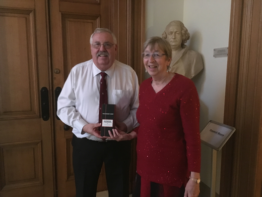 Eddie Bromhead the outgoing chief scientific editor (CSE) with Jane Dottridge the incoming CSE for QJEGH.
