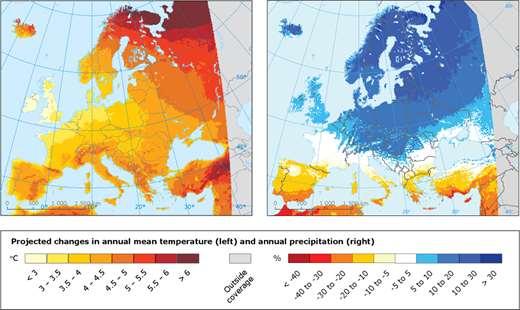 Projected temperature and precipitation changes for the period 2071–2100 compared with 1971–2000 based on an ensemble of regional climate model simulations provided by the EURO-CORDEX initiative (from EEA 2015b).
