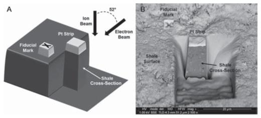 (A) Schematic diagram of the sectioning and imaging procedure in a focused ion beam–scanning electron microscopy (FIB-SEM) system. (B) Backscattered electron (BSE) image of a site on a shale surface prepared in cross section. Pt strip = platinum strip. HV = high voltage; TLD = through lens detector; WD = working distance; HFW = horizontal field width. [From Curtis ME, Sondergeld CH, Ambrose RJ, Rai CS (2012) Microstructural investigation of gas shales in two and three dimensions using nanometer-scale resolution imaging. American Association of Petroleum Geologists Bulletin, Vol. 96, p. 665–677; AAPG© 2012, reprinted by permission of the AAPG whose permission is required for further use.]