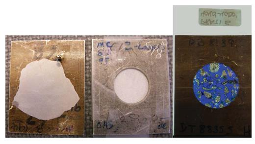 Two methods of mounting samples for (U)SANS analysis. The images on the left shows a sample ground to 150 μm, then floated off the glass slide (originally glued on using super glue) and attached to the Cd mask. The image on the right shows a sample mounted on a quartz glass slide that was then taped directly to the Cd mask. Unlike the samples to the left and middle, the sample on the right consists of drill cutting mounted in epoxy, rather than solid rock, but the method of mounting on quartz glass works similarly well for larger samples (Anovitz, unpb.).