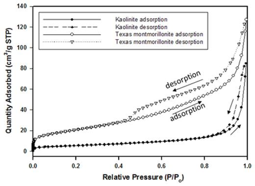N2-gas adsorption isotherms of powders of Texas Montmorillonite STx-1b and Kaolinite KGa-2. The isotherm shapes indicate the kaolinite powders are mostly macroporous, with negligible or non-existent micropores and mesopores. Montmorillonite powders shows presence of significant volumes micro-, meso- and macropores.