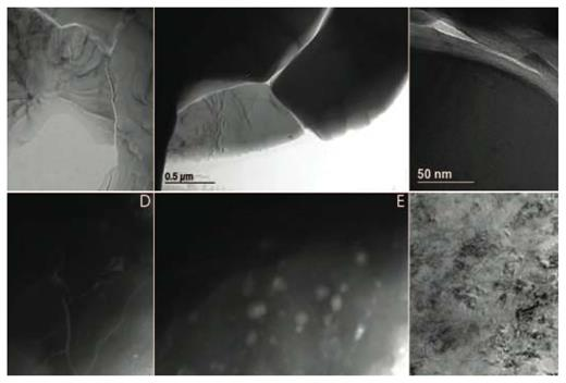 TEM images of pores from representative samples from the Marble Canyon contact aureole [Anovitz LM, Lynn GW, Cole DR, Rother R, Allard LF, Hamilton WA, Porcar L, Kim M-H (2009) A new approach to quantification of metamorphism using ultra-small and small angle neutron scattering. Geochimica et Cosmochim Acta, Vol. 73, p. 7303–7324, used with permission from Elsevier.] Note the strong variation in pore shapes.