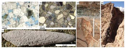 Examples of various mineral precipitation characteristics. Microphotographs of (a) unaltered and (b) altered sandstone in the vicinity of a natural CO2 seepage conduit (Little Grand Wash Fault, Utah) [Used by permission of the American Chemical Society, from Altman et al. (2014)Journal of Physical Chemistry C, Vol. 118, Fig. 2, p. 15106]. Primary porosity in blue epoxy in (a) is altered by carbonate precipitates shown in (b). (c) Uniform elongate concretion from the Sierra Ladrones Formation (ancestral Rio Grande sediments, see Mozley and Davis (2005) for further information). (d) CaCO3 precipitation along the vertical pathway sealed by a thin Mancos shale layer (Carmel Formation, Utah). (e) Calcite-cemented hanging-wall damage/mixed zone of the Sand Hill Fault, New Mexico (scale: >10 m).