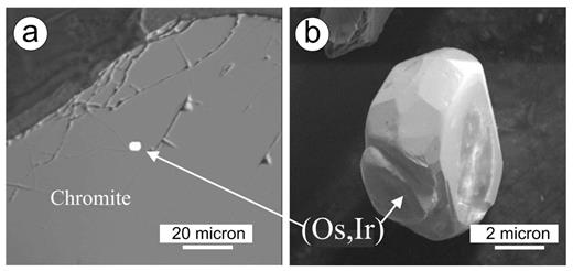 Images of Os-Ir alloy grains (a) in situ and (b) liberated by mechanical processing from chromitites of the Guli massif (adapted from Malitch et al. (2011b) Redox conditions of formation of osmium-rich minerals from the Guli massif, Russia. Geochemistry International, Vol. 49, p. 726–730, with the permission of the author and publisher).