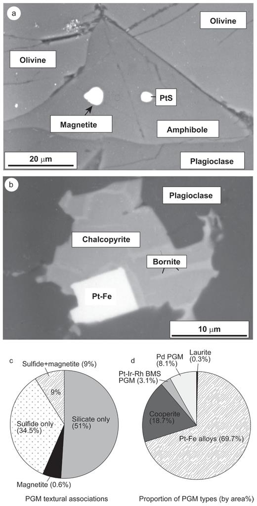 (a) Back scattered electron micrograph of cooperite (PtS) and magnetite (labelled) inclusions in amphibole from Horizon B in the Freetown Layered Complex. Image adapted from Figure 5c of Bowles et al. (2013). (b) Back scatter electron micrograph of Pt–Fe alloy inclusion in chalcopyrite from Horizon D, adapted from Figure 5n of Bowles et al. (2013). (c-d) Pie charts showing (c) the associations between the PGM and their host phases, and (d) the varying abundance of the types of different PGM. BMS = base-metal sulfides. Data are taken from Figures 4a and 4b of Bowles et al. (2013). Data and images are reproduced and presented with the permission of the author and Canadian Mineralogist.