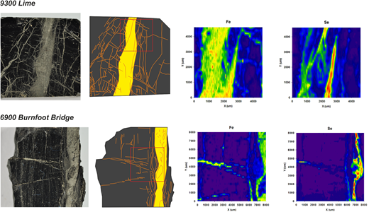 Fe and Se laser ablation mapping of banded and cleat-filling pyrite in two Greenburn coal samples (map area depicted in schematic by red box). High Fe content defines all pyrite phases, while high Se concentrates in cleat-filling pyrite.