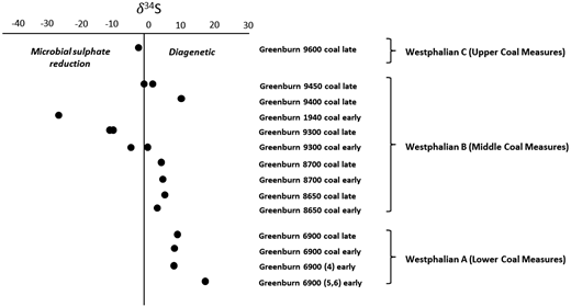 S isotopic compositions of pyrite from sampled Greenburn coals, showing that pyrite predominantly formed by diagenetic processes, but some may also have formed due to microbial sulphate reduction, particularly in Westphalian B (Middle Coal Measures) coal seams.
