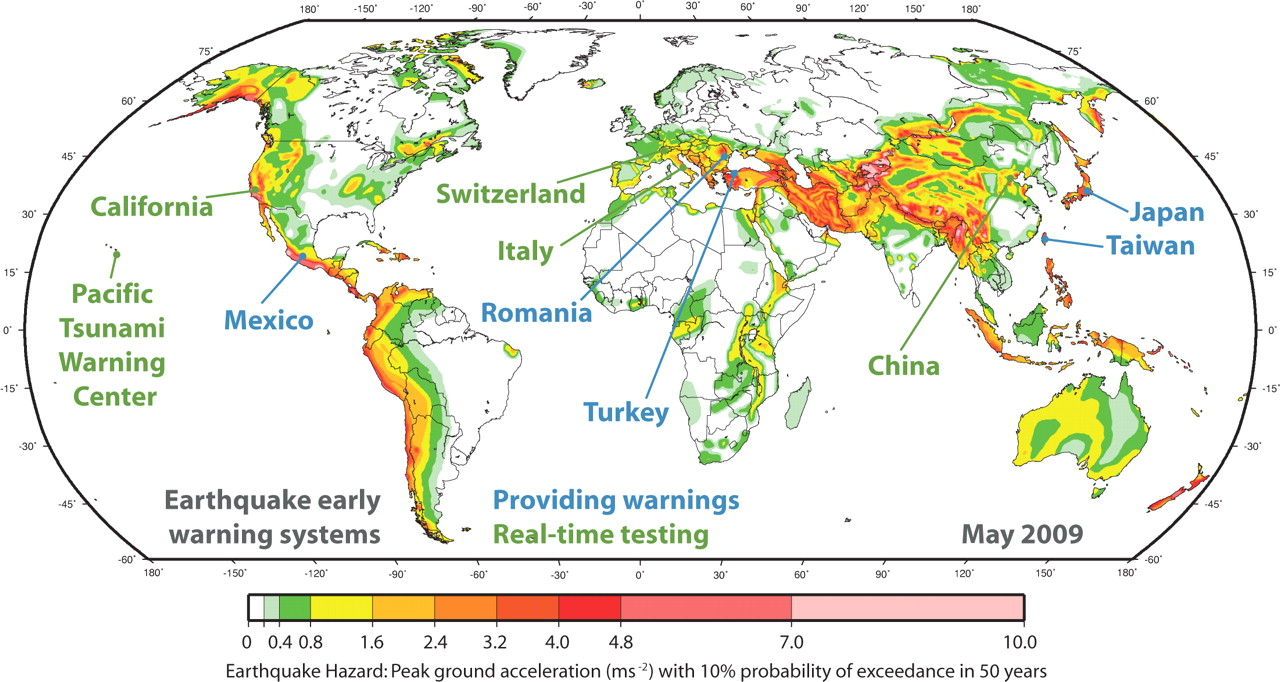 Status of earthquake early warning around the world an introductory view largedownload slide map of global seismic hazard showing locations gumiabroncs Choice Image