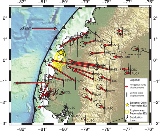broad scale coseismic static displacements recorded at cgps stations in ecuador and southern colombia red