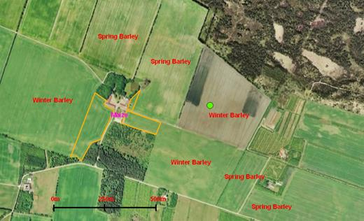 Orthophoto showing the field site at Voulund Farm. The mast location is marked with a green dot, and crops for the 2009 growing season are given in red letters.