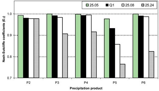 Nash–Sutcliffe coefficients (E2) for different precipitation schemes based on stream discharge results from 1990–1995.