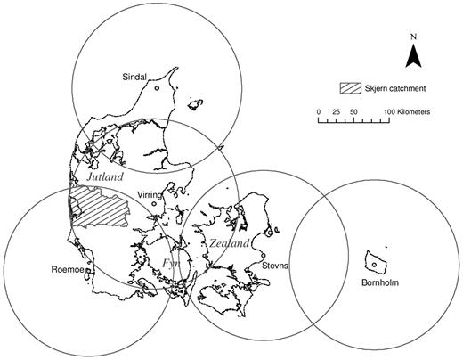 The Danish national radar network of the Danish Meteorological Institute. Five radars are deployed in Denmark: three in Jutland, one on Zealand, and one on Bornholm. The radar detection range is shown as 120 km, whereas the actual range is 240 km. The Skjern catchment (shaded) is covered by the radars in Sindal, Virring, and Roemoe.