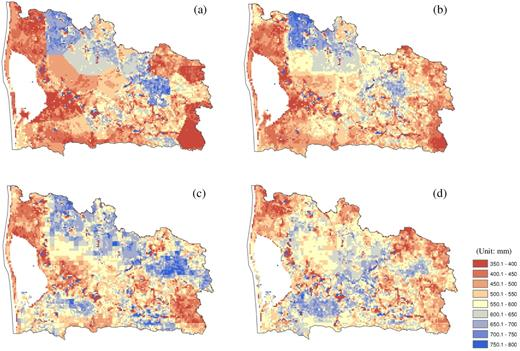 Simulated groundwater recharge from the MIKE-SHE model: (a) result using precipitation input with station data and Thiessen polygons, (b) result using precipitation input with the Danish Meteorological Institute 10-km grid product (DMI10), (c) result using precipitation input with ARNE-adjusted radar quantitative precipitation estimation, and (d) result by using precipitation input with the mean field bias (MFB) corrected raw radar image