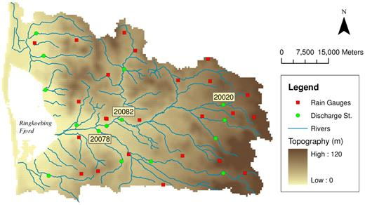 Map of the Skjern catchment. The Skjern River network as well as observation points for precipitation and stream discharge stations are shown. Discharge stations no. 20020, 20082, and 20078 are marked for further discussion.