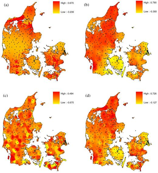 Adjustment factor fields in the ARNE algorithm for Denmark on 27 June 2006: (a) distance-dependent adjustment factor field, (b) first guess adjustment factor field, (c) interpolated adjustment factor field, and (d) final adjustment field. Values are dimensionless. Locations of the rain gauges are indicated by dark green dots.