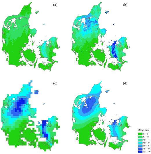 Estimation of precipitation using different approaches for Denmark on 27 June 2006: (a) original radar image, (b) ARNE-adjusted radar quantitative precipitation estimation product, (c) Danish Meteorological Institute 10-km grid product, and (d) kriging of rain gauge rainfall data.