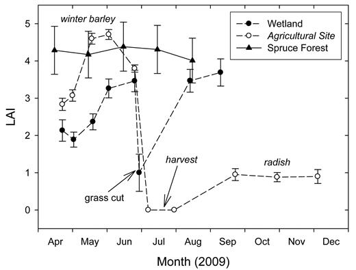 Leaf area index (LAI) as measured on the wetland and on the agricultural field between April and December 2009 and in the spruce forest during summer 2009. The grass at the wetland site was cut on 29 June. The barley at the agricultural site was harvested on 21 July and the radish was sown the following day.