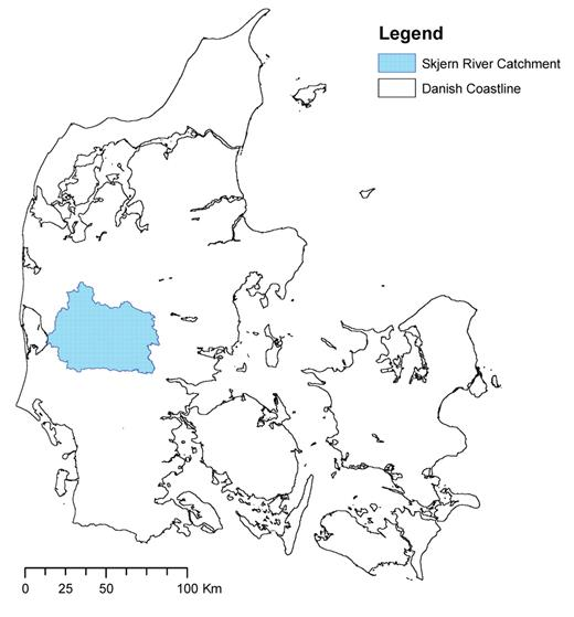 Map of Denmark and location of the hydrological observatory Skjern catchment.