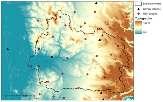 Topography, location of rain gauges and climate stations, and stream network of Skjern catchment.
