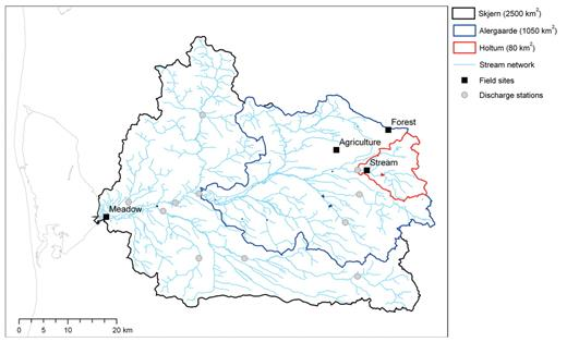 Spatial scales (local, subcatchments, and entire Skjern catchment) addressed in the study.