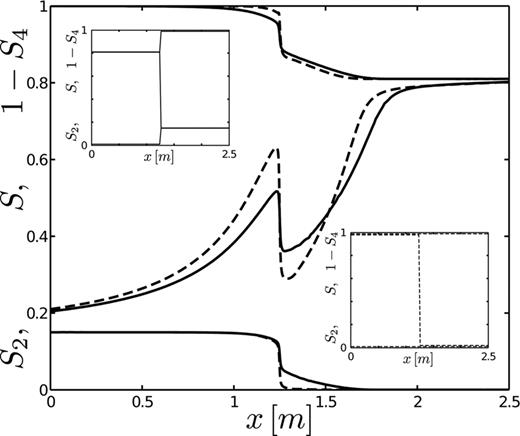 Stationary nonmonotone saturation profiles close to complete hydrostatic equilibrium; S2 (lower curves) represent nonpercolating water, S = S1 + S2 (middle curves) is the water saturation, and 1 − S4 (upper curves) represent nonpercolating oil. The discontinuous initial conditions for the dashed and solid profiles are shown in the lower and upper insets, respectively.
