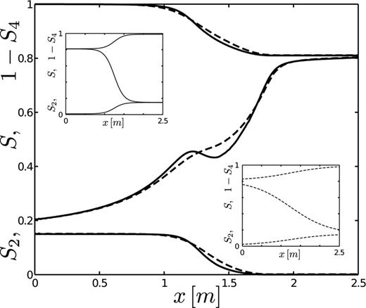 Stationary nonmonotone saturation profiles close to complete hydrostatic equilibrium; S2 (lower curves) represent nonpercolating water, S = S1 + S2 (middle curves) is the water saturation, and 1 − S4 (upper curves) represent nonpercolating oil. The smooth initial conditions for the dashed and solid profiles are shown in the lower and upper insets, respectively.