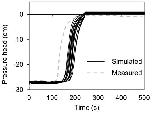 Comparison of pressure head by measured tensiometer (the first infiltration run) with simulated pressure head values at a depth of 8.8 cm below the sample surface.