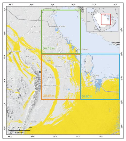 Location of the investigated area including (yellow) sand dune areas, and grid cells of the climate model with model orography of the single grid cells.