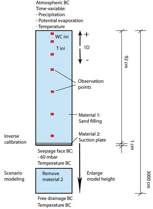 Conceptual model setup with initial and boundary conditions for the inverse model corresponding to soil column experiments, and adjusted boundary conditions for the scenario modeling.