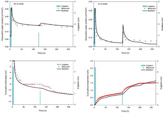 (top) Measured versus simulated water content at 14 and 64 cm and (bottom) measured versus simulated cumulative discharge and evaporation.