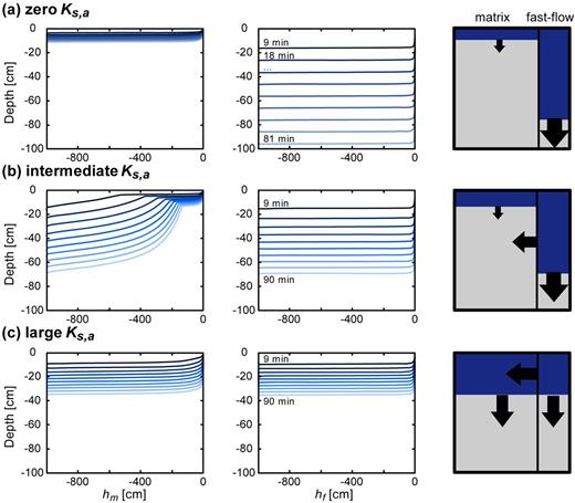 Vertical infiltration wetting fronts in synthetic dual-permeability soils as a function of interfacial saturated hydraulic conductivity Ks,a for a loamy matrix with pressure head hm and a fast-flow region of intermediate size pores with pressure head hf for (a) zero, (b) intermediate, and (c) large Ks,a values.