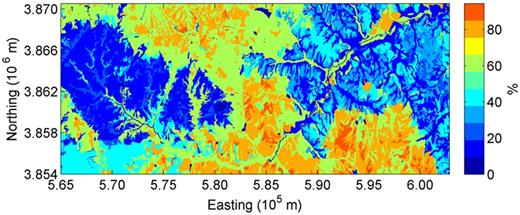 The SSURGO estimated sand content for the surface horizon based on the predominant soil series in each mapping unit in the Little Washita River watershed.