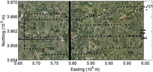 Aerial photo of the study region in the Little Washita River watershed. The black dots show roving paths; the black numerals show USDA–ARS Micronet station locations. The thick vertical black line is a region where the aerial images are lacking. (Photo by the National Agriculture Imagery Program, USDA Farm Service Administration.)