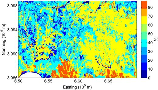 The SSURGO estimated sand content for the surface horizon based on the predominant soil series in each mapping unit in the MOISST region.