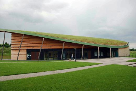 New applications for growing media are rapidly emerging, such as for green roofs, urban and space agriculture, and waste filters. (Photo by Sylvain Charpentier showing a green roof on a gymnasium in Angers, France.)
