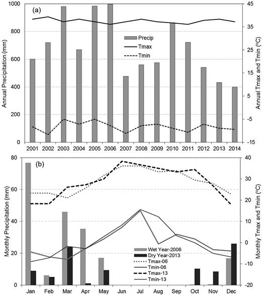 Variations in precipitation and temperature at Wolverton National Climatic Data Center station located in the middle of the sequoia study region: (a) annual total precipitation (Precip), annual maximum (Tmax) and minimum temperature (Tmin) from 2001 to 2014; and (b) monthly precipitation and maximum and minimum temperature for selected wet and dry water years (WY) 2006 and 2013, respectively.