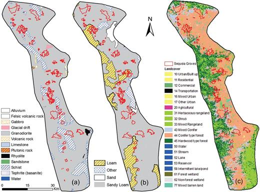 (a) Geology map, (b) soil map, and (c) land cover map of the giant sequoia study region.