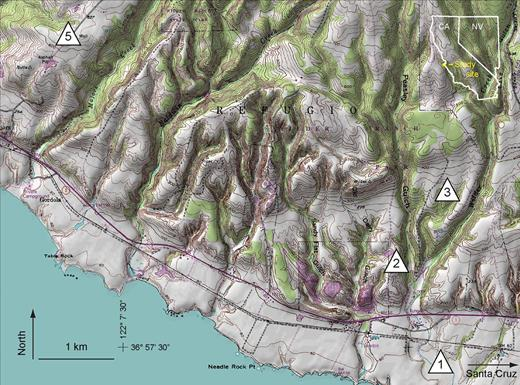 Site map of terraces northwest of Santa Cruz, CA. Sampling site locations are marked.