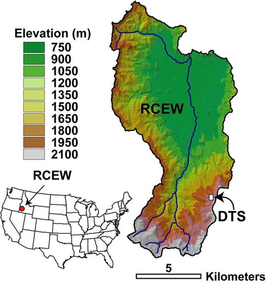 The 238-km2 Reynolds Creek Experimental Watershed (RDEW) and Critical Zone Observatory, located in southwestern Idaho. The distributed temperature sensing (DTS) experiment was conducted in the Upper Sheep Creek subwatershed at about 1900 m asl.