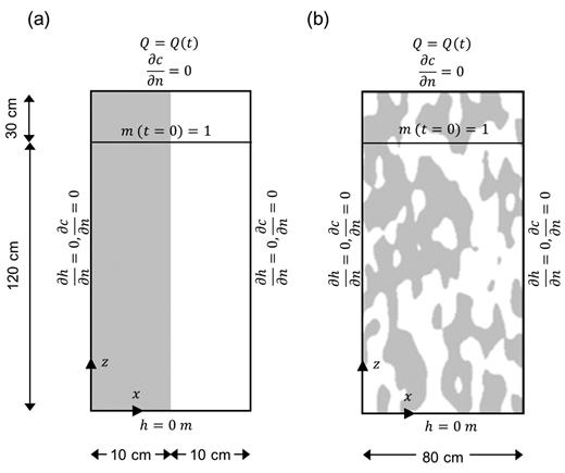 Conceptual model, initial and boundary conditions for heterogeneous structure composed of fine (gray) and coarse (white) sand for heterogeneity induced by (a) vertical layers and (b) a structured field.